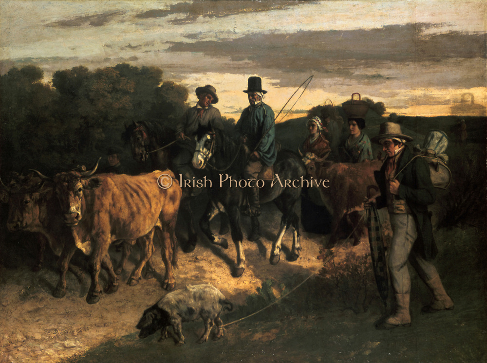Farmers of Flagey Returning from Market', oil on canvas c1859.  Gustave Courbet (1819-1877) French painter, leader of the Realist movement. Yoked oxen followed by two farmers on horseback, a cow and women on foot. Man with pig in foreground.