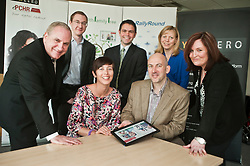 Launch of Technology Strategy Board, Year Zero dallas Community at Rotherham NHS Foundation trust on Wednesday morning. Front left Alison Mlot dallas program manager with Technology Strategy Board .and (left to right) Brian James Chief exec Rotherham Foundation trust,  and Jason Brewster of Sitekit, Ben Chico of Rotherham Foundation trust,  Alison Shaw of Liverpool Community Health Trust and Barbara Seaton of Rotherham Foundation trust are shown the technology by  David McGirr of Illumina Digital (Front Right)..23  May 2012.Image © Paul David Drabble