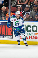 KELOWNA, BC - OCTOBER 16: Matthew Culling #16 of the Swift Current Broncos skates against the Kelowna Rockets  at Prospera Place on October 16, 2019 in Kelowna, Canada. (Photo by Marissa Baecker/Shoot the Breeze)