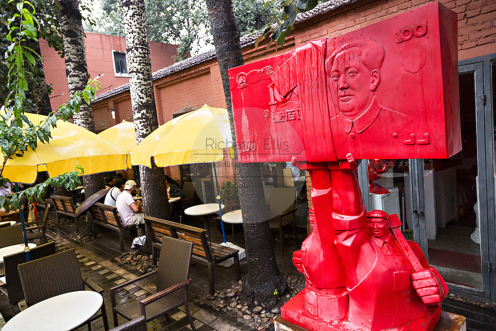 Public avant-garde sculpture and cafe at the 798 Art Zone in Beijing, China