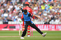 Worcestershire Rapid's Patrick Brown celebrates taking the wicket of Lancashire Lightning's Jordan Clark during the Vitality T20 Blast Semi Final match on Finals Day at Edgbaston, Birmingham.