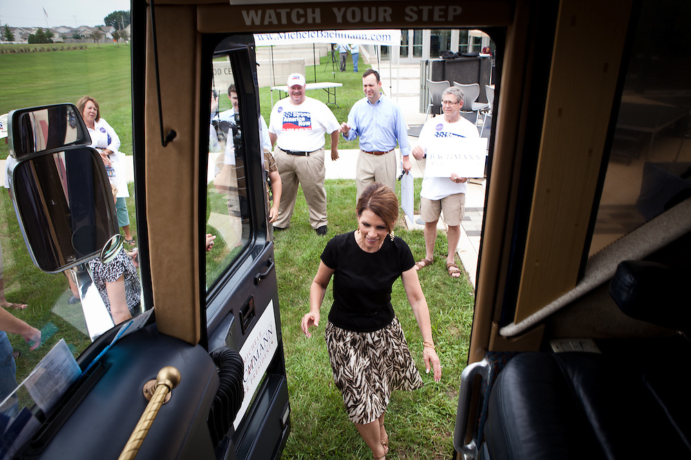 Rep. Michelle Bachmann leaves a campaign stop in Cedar Rapids, Iowa on August 6, 2011.