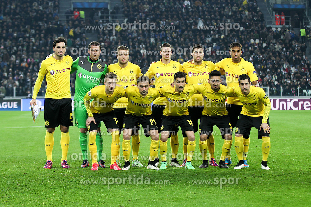 24.02.2015, Veltins Arena, Turin, ITA, UEFA CL, Juventus Turin vs Borussia Dortmund, Achtelfinale, Hinspiel, im Bild Teamfoto, Mannschaftsbild Dortmund // during the UEFA Champions League Round of 16, 1st Leg match between between Juventus Turin and Borussia Dortmund at the Veltins Arena in Turin, Italy on 2015/02/24. EXPA Pictures &copy; 2015, PhotoCredit: EXPA/ Eibner-Pressefoto/ Kolbert<br /> <br /> *****ATTENTION - OUT of GER*****