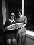 Seafood Cook in Rosslare 07/05/1976.05/07/1976.7th May 1976.The winner Yvonne Cooney, (15 years), Dominican Convent, Muckross Park, Dublin, (left), and her Domestic Science Teacher Miss Ann Hehir.