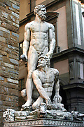 Hercules and Cacus', 1525-1534.  White marble statue at entrance to Palazzo Vecchio, Piazza della Signoria, Florence, Italy.  Baccio Bandinelli (1493-1560) Florentine artist. Sculpture Legend Greek Hero Monster Male Nude