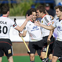 MELBOURNE - Champions Trophy men 2012<br /> Germany  v India 3-2<br /> foto: Mats Gramsbusch, Oliver Korn and Marco Miltkau celebrating.<br /> FFU PRESS AGENCY COPYRIGHT FRANK UIJLENBROEK