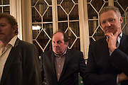 SEBASTIAN FAULKS; JAMES NAUGHTIE; RORY BREMNER, The Walter Scott Prize for Historical Fiction 2015 - The Duke of Buccleuch hosts party to for the shortlist announcement. <br /> The winner is announced at the Borders Book Festival in Scotland in June.John Murray's Historic Rooms, 50 Albemarle Street, London, 24 March 2015.