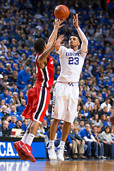 Kentucky guard Jamal Murray shoots a jumper in the first half.<br /> <br /> The University of Kentucky hosted the University of Georgia, Tuesday, Feb. 09, 2016 at Rupp Arena in Lexington .