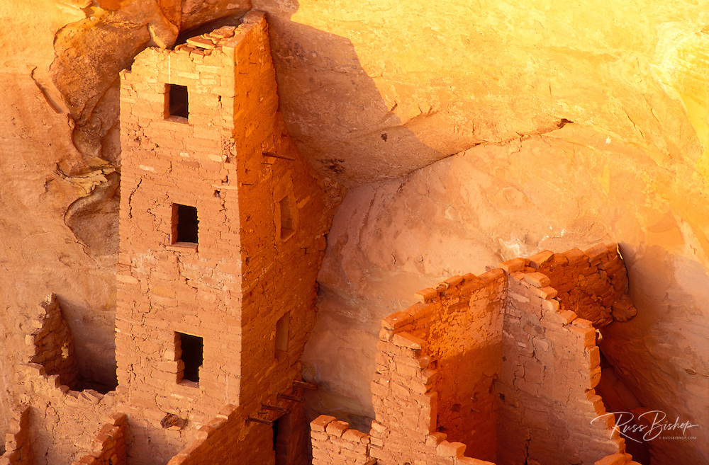 Evening light on Square Tower House Ruins, Mesa Verde National Park (World Heritage Site), Colorado.