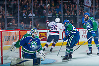 REGINA, SK - MAY 23: Bryce Platt #26 of the Regina Pats celebrates a third period goal on Stuart Skinner #74 of the Swift Current Broncos at the Brandt Centre on May 23, 2018 in Regina, Canada. (Photo by Marissa Baecker/CHL Images)