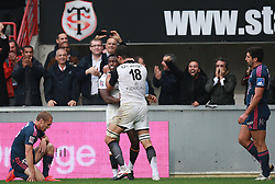 Yves Donguy celebrates with Gregory Lamboley after scoring the winning try for Toulouse. Stade Toulousain v Stade Francais, 9eme Journee, Top 14, Rugby, Stade Ernest Wallon, Toulouse, France, 29th October 2011.