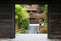Traditional Japanese House Framed in Doorway at The Huntington Botanical Gardens, San Marino, California