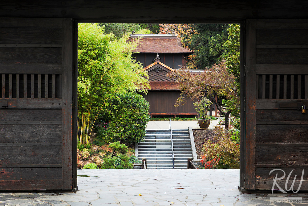 Traditional Japanese House Framed in Doorway at The Huntington Botanical Gardens, San Marino, California