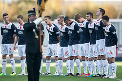 The minutes silence before the game.<br /> Falkirk 4 v 1 Livingston, Scottish Championship game played today at the Falkirk Stadium.