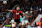 Ryan Fraser (24) of AFC Bournemouth battles for possession with Marcus Rashford (19) of Manchester United during the Premier League match between Bournemouth and Manchester United at the Vitality Stadium, Bournemouth, England on 18 April 2018. Picture by Graham Hunt.