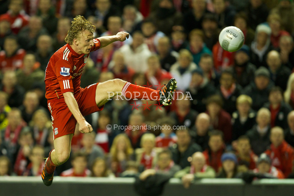 LIVERPOOL, ENGLAND - Wednesday, January 25, 2012: Liverpool's Dirk Kuyt in action against Manchester City during the Football League Cup Semi-Final 2nd Leg at Anfield. (Pic by David Rawcliffe/Propaganda)