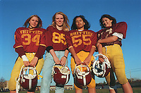 LYNN-- Whittier Tech Freshmen football female players L-R: Shane Marotte, Nicole White, Jessica Guadalupe, and Amy St. Onge. 1 Globe Photo by Bethany Versoy..RESTRICTED USE.NOT FOR REPBULICATION WITHOUT EXPLICIT APPROVAL FROM DIRECTOR OF PHOTOGRAPHY
