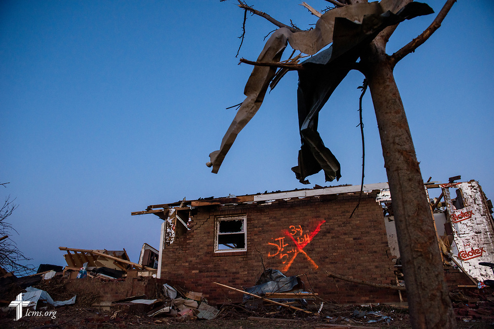 A church member's destroyed home on Wednesday, March 1, 2017, in Perryville, Mo. The night before, violent tornadoes ripped through parts of the town. LCMS Communications/Erik M. Lunsford