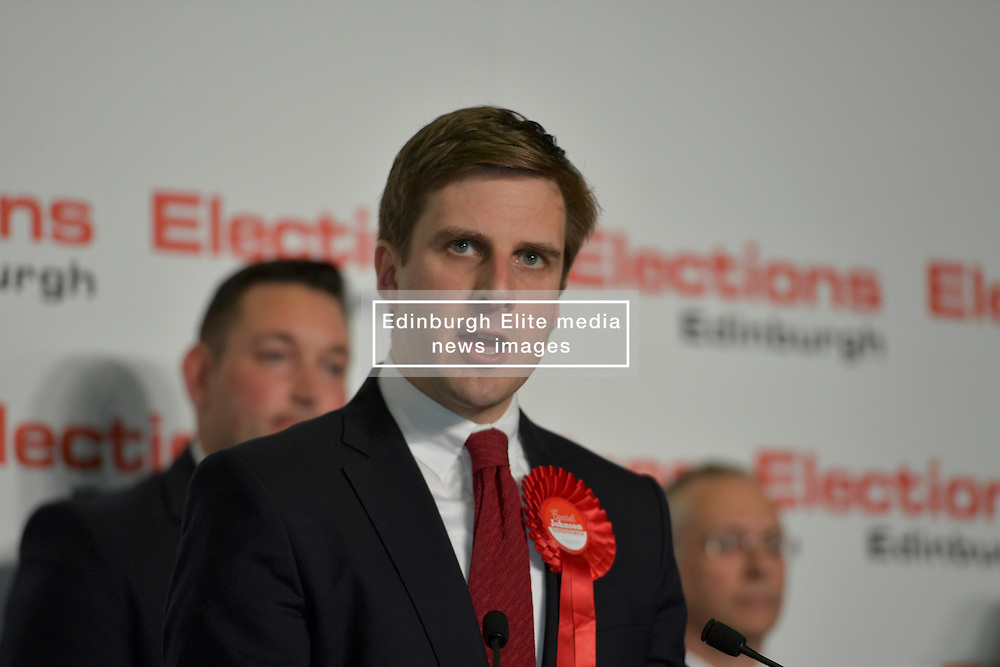 SCOTTISH PARLIAMENTARY ELECTION 2016 – Daniel Johnson, Scottish Labour Party winning the Southern Edinburgh Seat at the Scottish Parliament Election at the Royal Highland Centre, Edinburgh for the counting of votes and declaration of results.<br />
