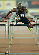 JOHANNESBURG, SOUTH AFRICA - MARCH 22: Antonio Alkana in the mens 110m hurdles during the ASA Speed Series 4 at Germiston Stadium on March 22, 2017 in Johannesburg, South Africa. (Photo by Roger Sedres/ImageSA)