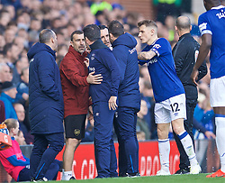 LIVERPOOL, ENGLAND - Sunday, April 7, 2019: Everton's manager Marco Silva and Arsenal's manager Unai Emery clash during the FA Premier League match between Everton FC and Arsenal FC at Goodison Park. (Pic by David Rawcliffe/Propaganda)