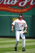 ANAHEIM, CA - APRIL 26:  Right fielder Vladimir Guererro #27 of the Los Angeles Angels of Anaheim gets ready to make a play on fly ball to right during the game against the Tampa Bay Devil Rays at Angel Stadium in Anaheim, California on April 26, 2007. The Angels defeated the Devil Rays 11-3. ©Paul Anthony Spinelli *** Local Caption *** Vladimir Guererro