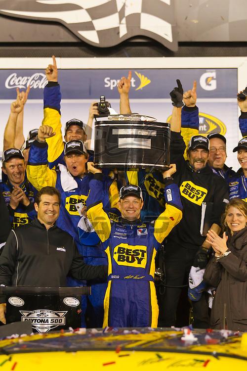 DAYTONA BEACH, FL - Feb 28, 2012:  Matt Kenseth wins the the Daytona 500 at the Daytona International Speedway in Daytona Beach, FL.