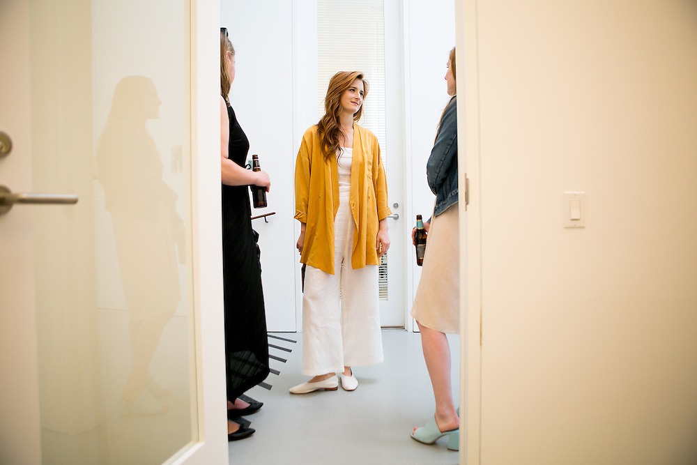 NEW YORK, NY - JUNE 30, 2016: Actress Grace Gummer looks at art at the David Zwriner gallery along with her childhood friend Karline Moeller and the gallery's director, Andrea Cashman, in New York, New York. CREDIT: Sam Hodgson for The New York Times.