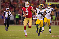 12 January 2013: Quarterback (7) Colin Kaepernick of the San Francisco 49ers runs the ball for a touchdown against the Green Bay Packers during the second half of the 49ers 45-31 victory over the Packers in an NFL Divisional Playoff Game at Candlestick Park in San Francisco, CA.