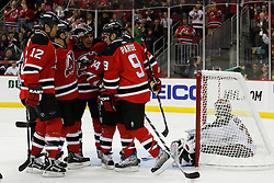 Mar 20, 2009; Newark, NJ, USA; The New Jersey Devils celebrate a goal by New Jersey Devils right wing Brian Gionta (14)  during the second period at the Prudential Center.