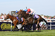 MUSHARRIF (12) ridden by Ger O'Neill and trained by Declan Carroll winning The Constant Security Handicap Stakes over 5f (£9,400)   during the Beverley Bullet Day at Beverley Racecourse, Beverley, United Kingdom on 1 September 2018. Picture by Mick Atkins.