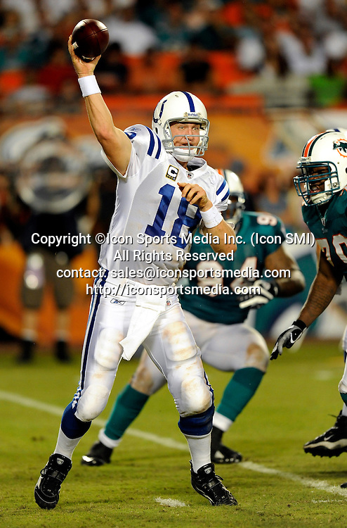 21 September 2009: Indianapolis Colts quarterback Peyton Manning during  the game against the Miami Dolphins at Land Shark Stadium in Miami, Florida.