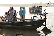 A ferry departs Chunar Fort to cross the Ganges river,  Uttar Pradesh. India