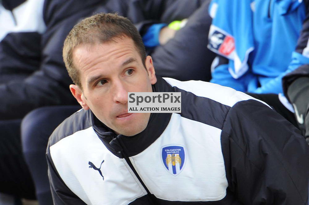 Colchesters manager Kevin Keen prior to the Colchester v Tottenham game in the FA Cup 4th Round on the 30th January 2016.