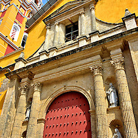 Cathedral of Cartagena in Old Town, Cartagena, Colombia<br /> Construction of the Cathedral of Cartagena began in 1577. The church was partially destroyed during an attack by Sir Frances Drake nine years later. La Catedral was finished in 1612. This Roman Catholic church is dedicated to Catherine of Alexandria. St. Catherine was martyred for her unrelenting Christian faith early in the 4th century by Roman Emperor Maxentius.