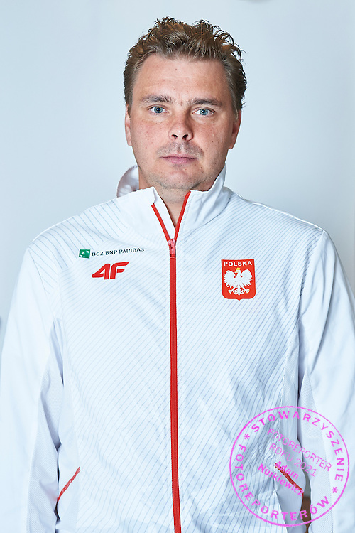 GDANSK, POLAND - 2016 MARCH 03: Marcin Matkowski of Poland pose to the portrait's picture after official draw while press conference one day before the Davies Cup / World Group 1st round tennis match between Poland and Argentina at Ergo Arena on March 3, 2016 in Gdansk, Poland<br /> <br /> Picture also available in RAW (NEF) or TIFF format on special request.<br /> <br /> Any editorial, commercial or promotional use requires written permission.<br /> <br /> Mandatory credit:<br /> Photo by &copy; Adam Nurkiewicz / Mediasport