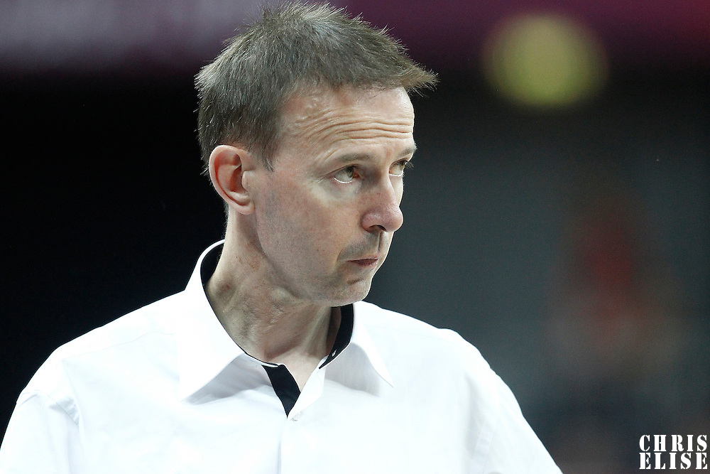 04 August 2012: France head coach Vincent Collet is seen during 73-69 Team France victory over Team Tunisia, during the men's basketball preliminary, at the Basketball Arena, in London, Great Britain.