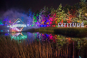 The light show projected on a fountain of water on the Lake - The 2017 Latitude Festival, Henham Park. Suffolk 13 July 2017