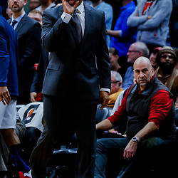 Jan 22, 2018; New Orleans, LA, USA; New Orleans Pelicans head coach Alvin Gentry calls for timeout during double overtime against the Chicago Bulls at the Smoothie King Center. The Pelicans defeated the Bulls 132-128 in double overtime. Mandatory Credit: Derick E. Hingle-USA TODAY Sports