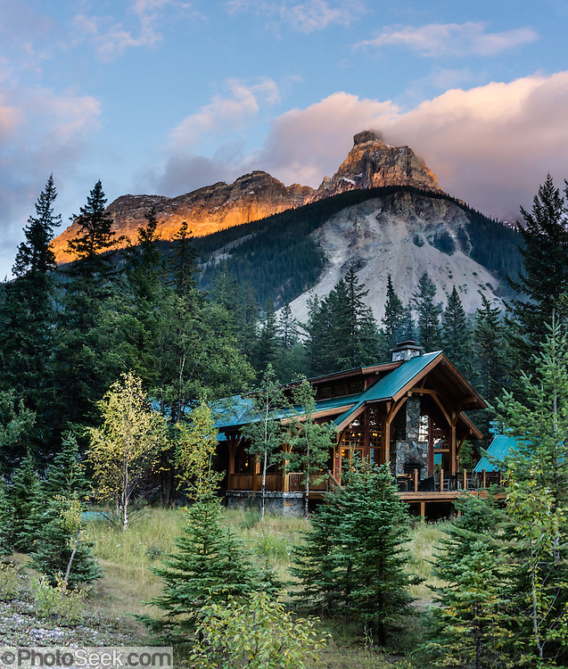 Cathedral Mountain Lodge in Yoho National Park, British Columbia, Canada. Yoho is one of several Canadian Rocky Mountains parks which comprise a spectacular World Heritage Area listed by UNESCO in 1984. The panorama was stitched from 4 overlapping images.