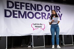 London, UK. 4 September, 2019. Rania Ramli, National Chair of Labour Students, addresses Remain supporters at a Defend Our Democracy rally in Parliament Square shortly after MPs passed the Brexit delay bill in the House of Commons.