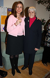 Left to right, founder of the London Haven SARA DAVENPORT and inspiration for the charity WENDY RICKETTS at a party attended by HRH The Countess of Wessex to celebrate the 5th birthday of Breast Cancer Haven's - The London Haven, Effie Road, London on 10th February 2005.<br />