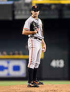 Sep. 15, 2012; Phoenix, AZ, USA; San Francisco Giants pitcher Barry Zito (75) reacts during the game against the Arizona Diamondbacks in the first inning at Chase Field. Mandatory Credit: Jennifer Stewart-US PRESSWIRE