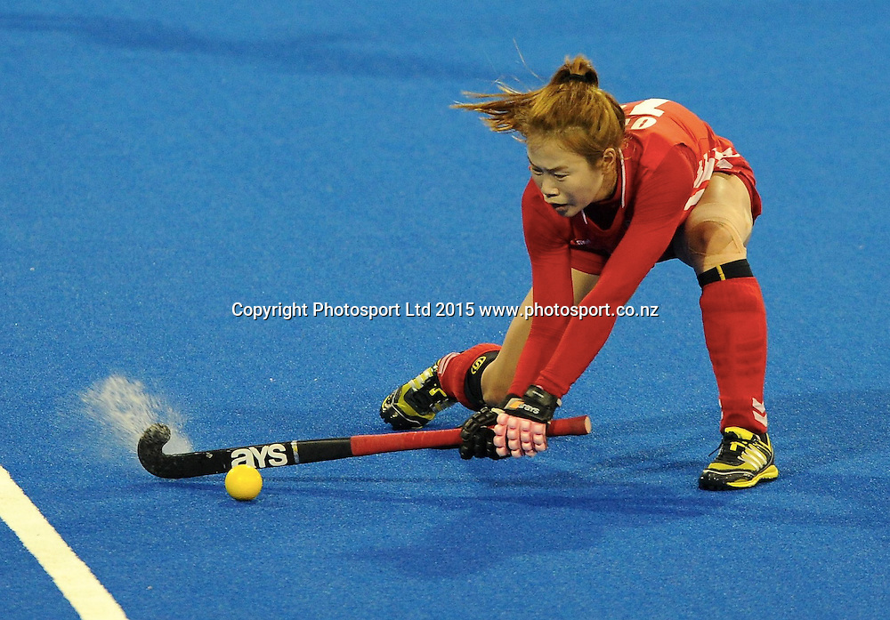 Koreas Sunsoon Oh in action in the Festival of Hockey, New Zealand Womens Black Sticks v Korea, Unison Sports Park, Hastings, Saturday, April 118 2015. Photo: Kerry Marshall / photosport.co.nz