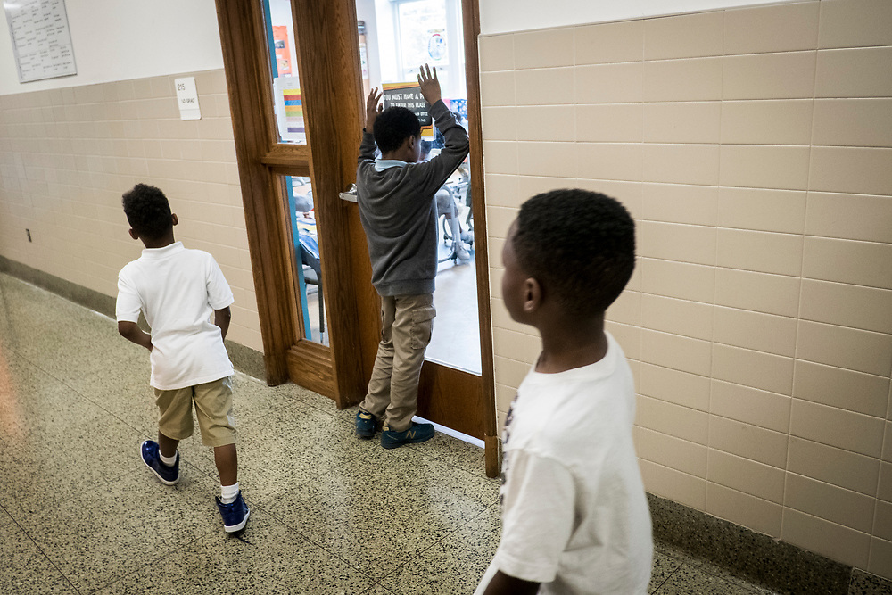 Students in the hallway at Turner Elementary School in Washington, D.C., on Wednesday, May 4, 2017.