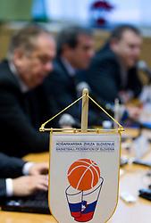Coach Serbian Bozidar Maljkovic, Roman Volcic, president of KZS and Matej Avanzo, director of National Team at press conference of new head coach of Slovenian national basketball team, on December 21, 2010 in Hotel Turist, Ljubljana, Slovenia. (Photo By Vid Ponikvar / Sportida.com)
