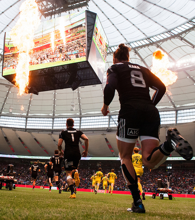 Gilles Kaka of New Zealand enters the field for the Cup Semi Final against Australia during the knockout stages of the 2016 Canada Sevens leg of the HSBC Sevens World Series Series at BC Place in  Vancouver, British Columbia. Sunday March 13, 2016.<br /> <br /> Jack Megaw<br /> <br /> www.jackmegaw.com<br /> <br /> 610.764.3094<br /> jack@jackmegaw.com