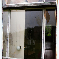 An old wooden window pane