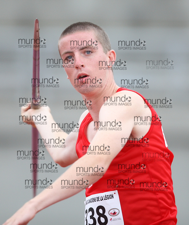 Sherbrooke, Quebec ---09/08/09---  Matheson West of Ontario competes in the javelin at the 2009 Legion Canadian Youth Track and Field Championships in Sherbrooke, Quebec, August 10, 2009..HO/ Athletics Canada (credit should read GEOFF ROBINS/Mundo Sport Images/ Athletics Canada)..