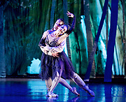 The Birmingham Royal Ballet <br /> Three Short Story Ballets (mixed Bill) <br /> at Birmingham Hippodrome, Birmingham, Great Britain <br /> Rehearsal 21st June 2017 <br /> <br /> Le Baiser de la f&eacute;e <br /> Choreography by Michael Corder<br /> <br /> Music: Igor StravinskyDesigns: John MacfarlaneLighting: Paule Constable<br /> <br /> CastFairy:  C&eacute;line Gittens <br /> <br /> Young Man: <br /> <br /> Mathias Dingman<br /> <br /> <br /> Photograph by Elliott Franks <br /> Image licensed to Elliott Franks Photography Services